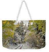 Snowy Road In Fall Weekender Tote Bag
