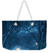 Snowy Road On A Winter Evening Weekender Tote Bag