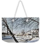 Snowy View Of Boathouserow Weekender Tote Bag