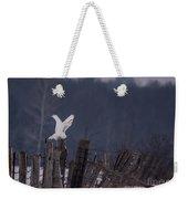 Snowy Wings Up Weekender Tote Bag