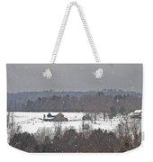 Snowy Winter Farmscape Weekender Tote Bag