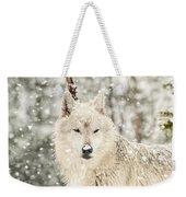 Snowy Wolf Weekender Tote Bag