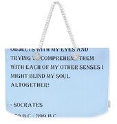 Socrates Quote In Cyan Weekender Tote Bag