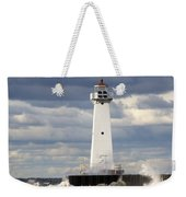 Sodus Outer Lighthouse On Stormy Lake Weekender Tote Bag