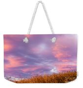 Soft Diffused Colourful Sunset Over Dry Grassland Weekender Tote Bag