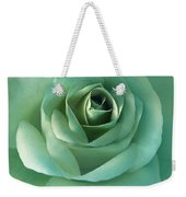 Soft Emerald Green Rose Flower Weekender Tote Bag by Jennie Marie Schell