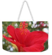 Soft Red Hibiscus With A Natural Garden Background Weekender Tote Bag