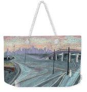 Soft Sunset Over San Francisco And Oakland Train Tracks Weekender Tote Bag