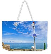 Solar-powered Light In Halls Harbour In Nova Scotia-canada Weekender Tote Bag