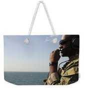 Soldier Instructs Small Boat Maneuvers Weekender Tote Bag