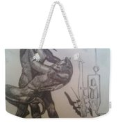 Soldier Slaying A Demon With Abstract Echo Weekender Tote Bag