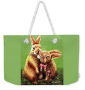 Some Bunny Loves You Weekender Tote Bag by Linda Simon
