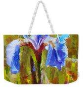 Alaskan Wild Iris And Blue Butterfly Flower Painting Weekender Tote Bag