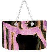 Sophia Loren - Purple Pop Art Weekender Tote Bag by Absinthe Art By Michelle LeAnn Scott