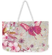 Sophisticated Elegant Whimsical Pink Butterfly Floral Flower Art Springs Joy By Megan Duncanson Weekender Tote Bag by Megan Duncanson