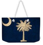 South Carolina State Flag Art On Worn Canvas Weekender Tote Bag