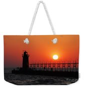 South Haven Lighthouse At Sunset 1 Weekender Tote Bag