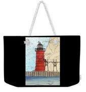 South Haven Lighthouse Mi Nautical Chart Map Art Cathy Peek Weekender Tote Bag