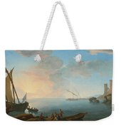 Southern Mediterranean Seascape With Boats And Figures At Sunset Weekender Tote Bag