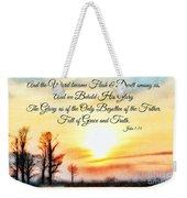 Southern Sunset - Digital Paint II With Verse Weekender Tote Bag by Debbie Portwood