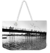 Southport Pier Across The Marine Lake Bw Weekender Tote Bag
