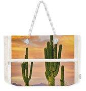 Southwest Desert Sunset White Rustic Distressed Window Art Weekender Tote Bag