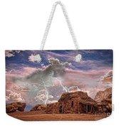 Southwest Navajo Rock House And Lightning Strikes Hdr Weekender Tote Bag