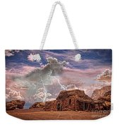 Southwest Navajo Rock House And Lightning Strikes Hdr Weekender Tote Bag