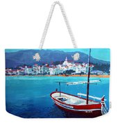 Spain Series 08 Cadaques Red Boat Weekender Tote Bag