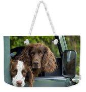 Spaniels In Car Weekender Tote Bag