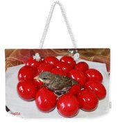 Sparrow On Red Eggs Weekender Tote Bag