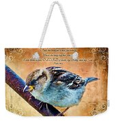 Sparrow With Verse And Painted Effect Weekender Tote Bag