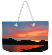 Spectacular Sunset On The Lake. Yellowstone. Weekender Tote Bag