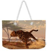 Speeding Cheetah Weekender Tote Bag by Daniel Eskridge