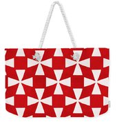 Spice Twirl- Red And White Pattern Weekender Tote Bag by Linda Woods