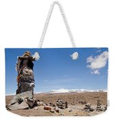 Spiritual Cairn In The Peruvian Altiplano Weekender Tote Bag