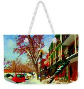 Splendor And Colors Of Quebec Winters Verdun Montreal Urban Street Scene Carole Spandau Weekender Tote Bag