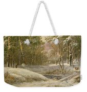 Sportsmen In A Winter Forest Weekender Tote Bag