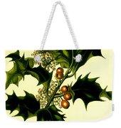 Sprig Of Holly With Berries And Flowers Vintage Poster Weekender Tote Bag