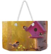 Spring Chickadees 1 - Birdhouse And Birch Forest Weekender Tote Bag