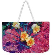 Spring Daffodils On Red - Horizontal Weekender Tote Bag