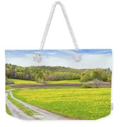 Spring Farm Landscape With Dirt Road And Dandelions Maine Weekender Tote Bag