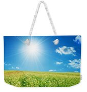 Spring Field With Flowers And Blue Sky Weekender Tote Bag