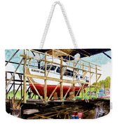 Yacht Glacier Bear Hauled Out In Gig Harbor Weekender Tote Bag