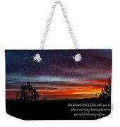 Spring Peaceful Morning Sunrise Bible Verse Photography Weekender Tote Bag