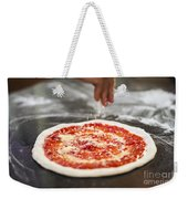 Sprinkling Cheese On Home Made Pizza Weekender Tote Bag