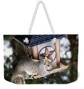 Squirrel On Bird Feeder Weekender Tote Bag by Elena Elisseeva