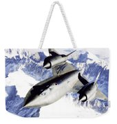 Sr-71 Over Snow Capped Mountains Weekender Tote Bag