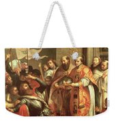 St. Bernard Of Clairvaux 1090-1153 And William X 1099-1137 Duke Of Aquitaine Oil On Canvas Weekender Tote Bag