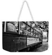 St. Charles Ave Streetcar Whizzes By-black And White Weekender Tote Bag